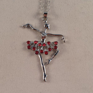 Silver Red Crystal Ballerina Ballet Dance Necklace